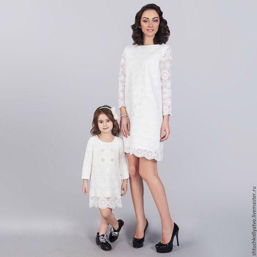 """Одежда для девочек, ручной работы. Ярмарка Мастеров - ручная работа. Купить Фэмили лук для мамы и дочки """"Нежность"""". Handmade. Белый"""