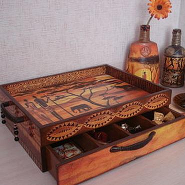 Для дома и интерьера ручной работы. Ярмарка Мастеров - ручная работа поднос с ящиком Жаркая Африка. Handmade.