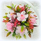 Косметика ручной работы. Ярмарка Мастеров - ручная работа Орхидеи и розы 7 цветов в корзине композиция из мыла. Handmade.