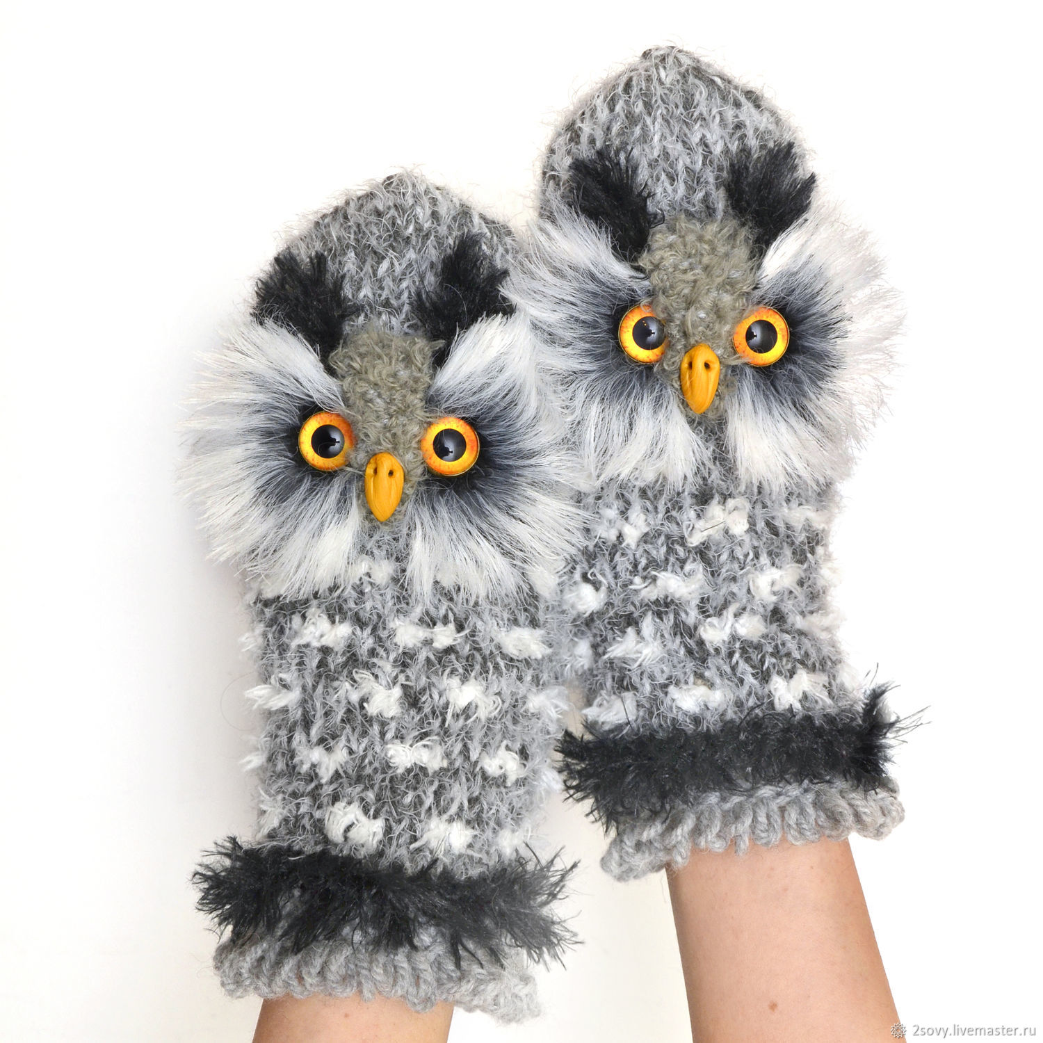 Mittens Owl gray, Mittens, Moscow,  Фото №1