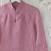 Одежда handmade. Livemaster - original item Linen blouse with stand. Handmade.