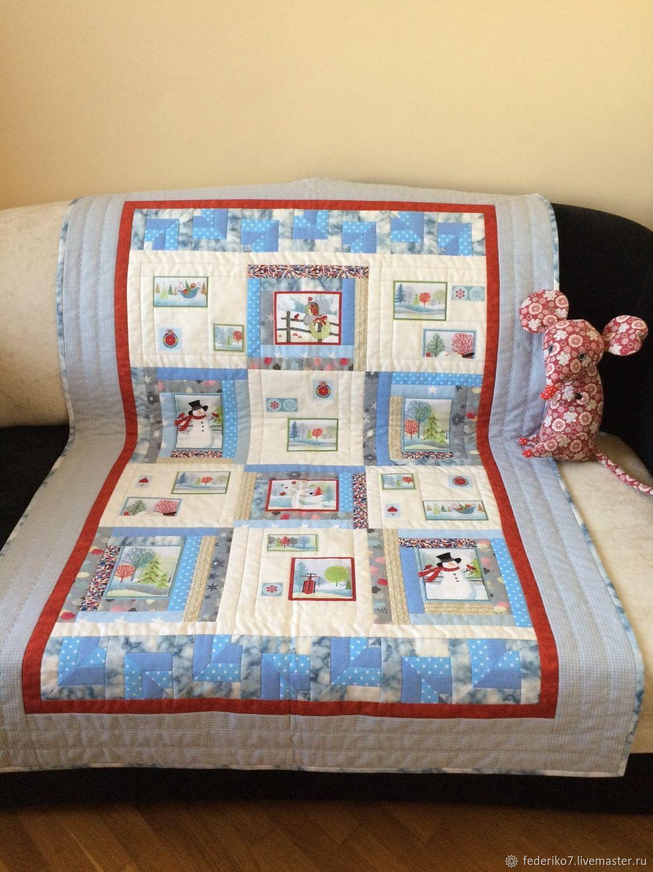 Детское лоскутное одеяло Снеговички пэчворк, Одеяла, Москва,  Фото №1