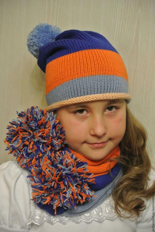 """Шапки и шарфы ручной работы. Ярмарка Мастеров - ручная работа. Купить Комплект вязаный шапочка и шарфик """"Разноцветный"""". Handmade. Комбинированный"""