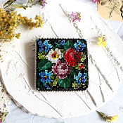 Brooches handmade. Livemaster - original item Brooch Russian beauty beaded square. Handmade.
