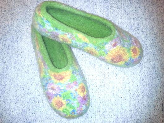 """Обувь ручной работы. Ярмарка Мастеров - ручная работа. Купить """"В стиле """"Кантри"""" Валяные тапочки. Handmade. Шерсть"""