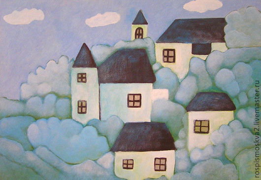 Пейзаж ручной работы. Ярмарка Мастеров - ручная работа. Купить Картина     Голубая  дымка   домики  пейзаж  голубой. Handmade.