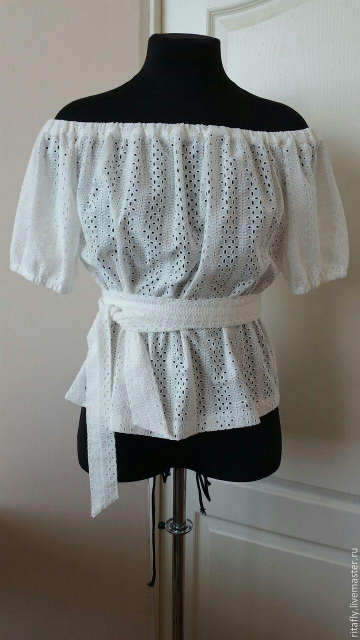 Блузки ручной работы. Ярмарка Мастеров - ручная работа. Купить 284: летняя блузка крестьянка из хлопка. Handmade. Белый, туника