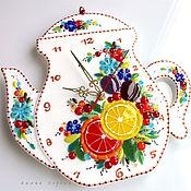 Для дома и интерьера ручной работы. Ярмарка Мастеров - ручная работа часы из стекла, фьюзинг  Фруктовый чай. Handmade.