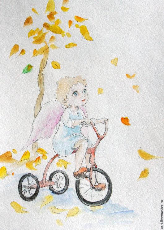 Детская ручной работы. Ярмарка Мастеров - ручная работа. Купить Ангел и листопад Картина Акварель 15х20. Handmade. Ангел
