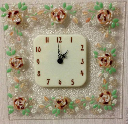 """Часы для дома ручной работы. Ярмарка Мастеров - ручная работа. Купить Часы """"Нежность""""   фьюзинг, проданы. Handmade. Часы"""