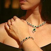 Украшения handmade. Livemaster - original item Natural Colombian Emerald Set, Emerald Bracelet, Emerald Necklace, Dia. Handmade.