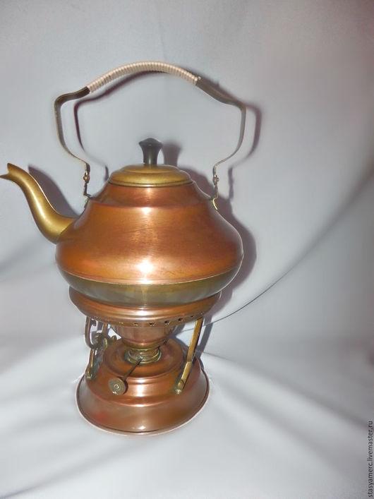 Винтажная посуда. Ярмарка Мастеров - ручная работа. Купить Медный старинный чайник на подогреве. Handmade. Чайник, прованский стиль