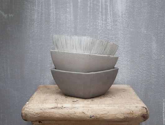 Кашпо ручной работы. Ярмарка Мастеров - ручная работа. Купить Кашпо из бетона для цветов, суккулентов, кактусов серое. Handmade.