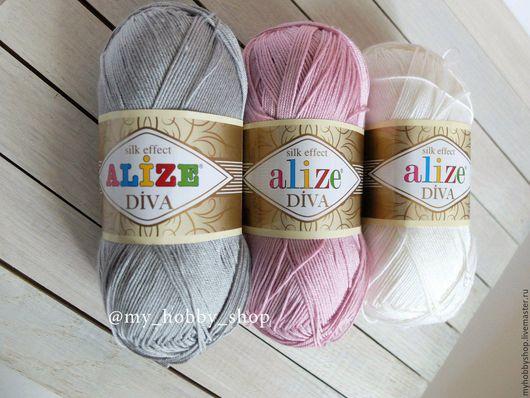 Вязание ручной работы. Ярмарка Мастеров - ручная работа. Купить пряжа Alize Diva. Handmade. Белый, пряа, пряжа в наличии