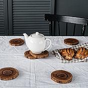 Для дома и интерьера handmade. Livemaster - original item A set of coasters for glasses (sawn) made of elm (elm) wood PN1. Handmade.
