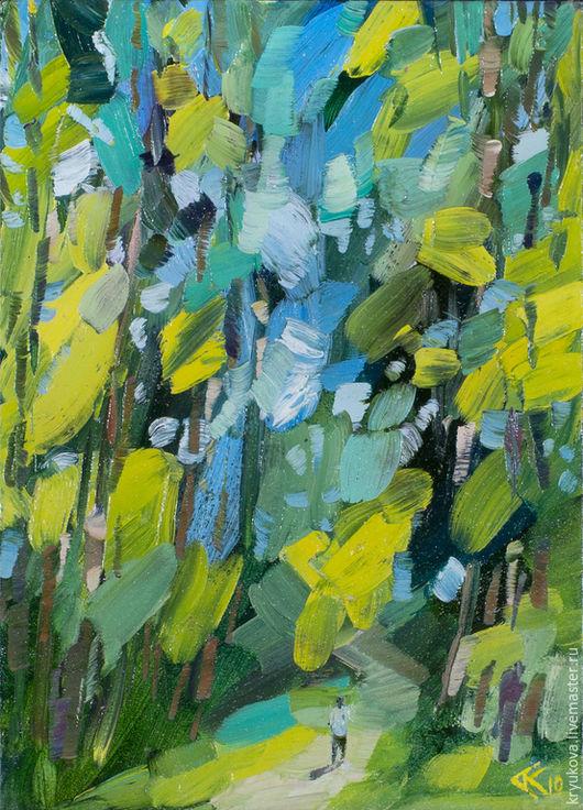 Картина маслом пейзаж В лес Картина летний пейзаж Пейзаж маслом в подарок