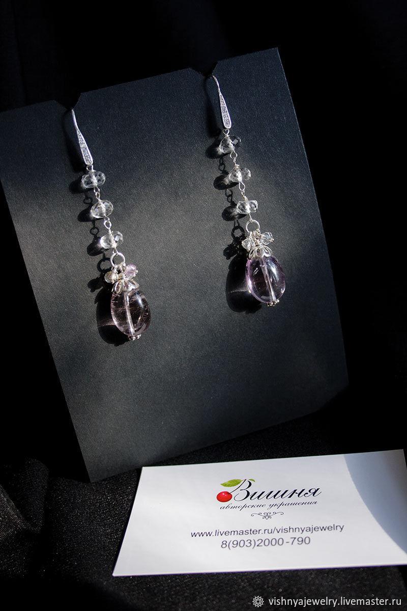 Серьги с аметрином серебро 925 Натуральные камни, Серьги классические, Москва,  Фото №1