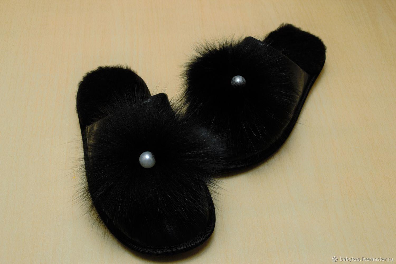 Тапочки кожаные с мехом мутона и песца, Тапочки, Лабинск,  Фото №1