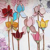 Цветы и флористика ручной работы. Ярмарка Мастеров - ручная работа Витражное украшение в цветочный горшок. Handmade.