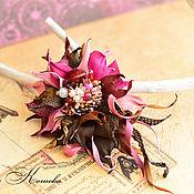 Украшения handmade. Livemaster - original item Brooch made of leather and beads Chocolate berry Caprice fuchsia. Handmade.