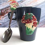 Чашки ручной работы. Ярмарка Мастеров - ручная работа Подарок для молодой ведьмочки_чашка и ложечка. Handmade.