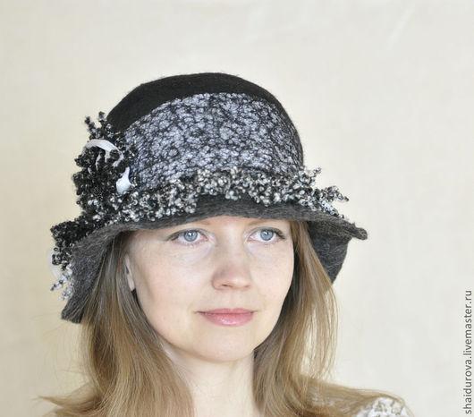 Шляпы ручной работы. Ярмарка Мастеров - ручная работа. Купить Валяная шляпа Сочетание.. Handmade. Чёрно-белый, женская шляпка