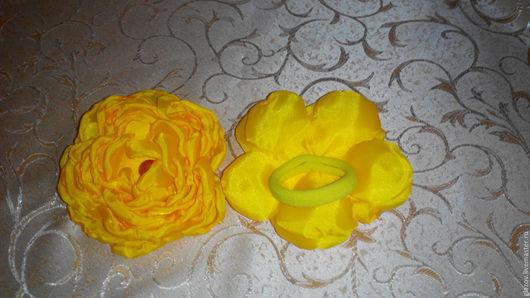 Детская бижутерия ручной работы. Ярмарка Мастеров - ручная работа. Купить Резинки для волос из ткани. Handmade. Желтый, цветы из ткани
