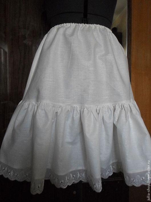 Юбки ручной работы. Ярмарка Мастеров - ручная работа. Купить Нижняя юбка из хлопка с оборкой. Handmade. Белый, нижняя юбка