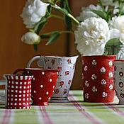 """Посуда ручной работы. Ярмарка Мастеров - ручная работа набор кружек """"Чай с вишневым вареньем"""". Handmade."""