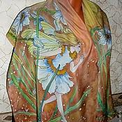 """Аксессуары ручной работы. Ярмарка Мастеров - ручная работа Батик шарфик  из серии""""Девочки-феечки""""Среди нарциссов""""140-40см,крепдеш. Handmade."""
