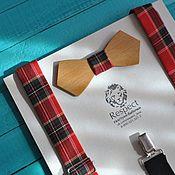 Аксессуары ручной работы. Ярмарка Мастеров - ручная работа Подтяжки в клетку Шотландка + деревянная бабочка галстук. Handmade.