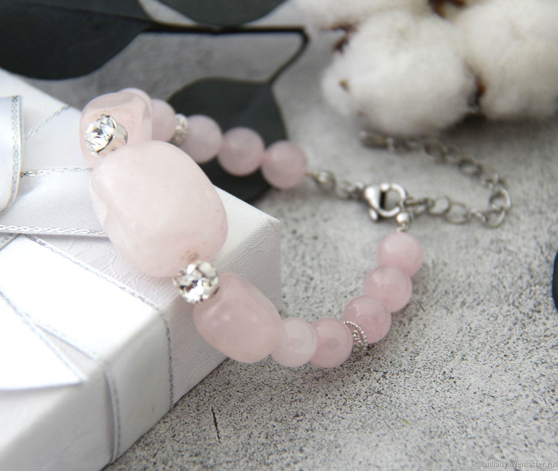 Rose quartz bracelet with Swarovski crystals, Bead bracelet, Ryazan,  Фото №1