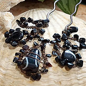Украшения handmade. Livemaster - original item Large copper stud with obsidian and agate. Handmade.