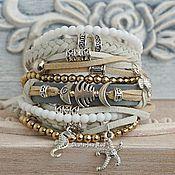 Украшения handmade. Livemaster - original item Boho-chic bracelet made of suede and hematite