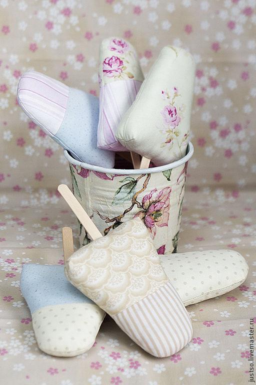 Еда ручной работы. Ярмарка Мастеров - ручная работа. Купить Эскимо-мороженое Тильда. Handmade. Бледно-розовый, крем-брюле