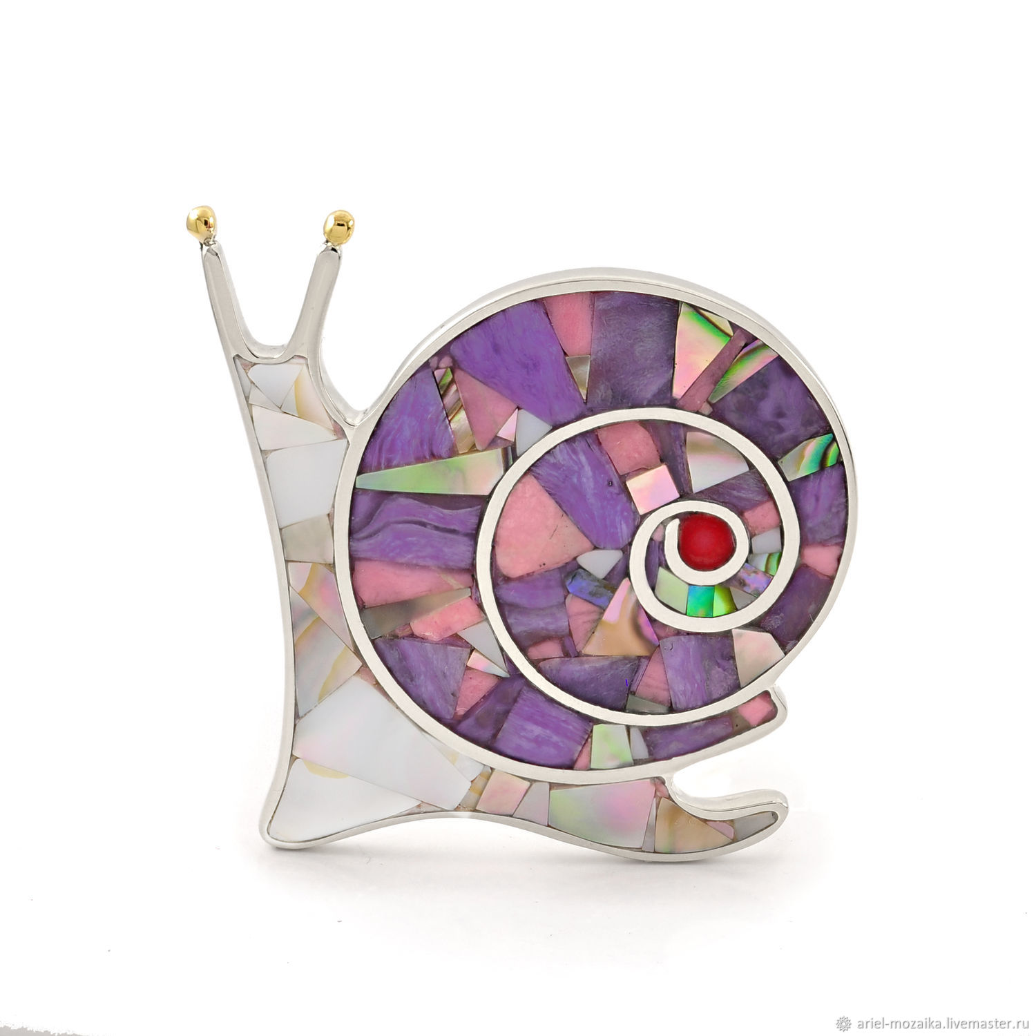 Brooch Snail. Charoite, Rhodonite, Mother Of Pearl, Coral, Brooches, Moscow,  Фото №1