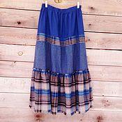 Одежда ручной работы. Ярмарка Мастеров - ручная работа Синяя юбка с пышной оборкой в клетку.. Handmade.