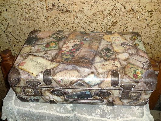 """Чемоданы ручной работы. Ярмарка Мастеров - ручная работа. Купить Винтажный чемодан""""Из Парижа с Любовью"""". Handmade. Коричневый, дорожная сумка"""