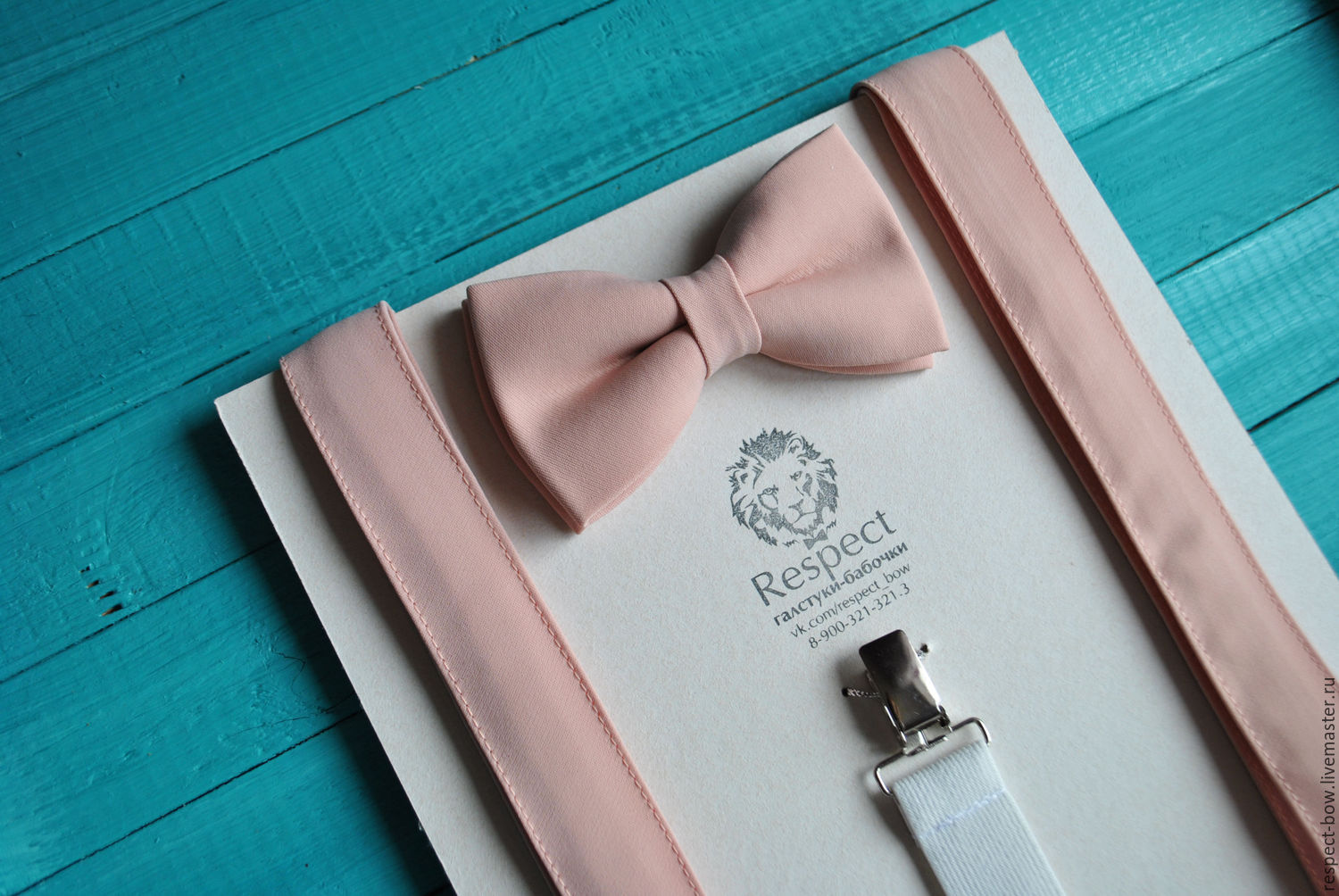 Bow tie and suspenders Rose quartz / for wedding in color rose quartz, Straps, Moscow,  Фото №1