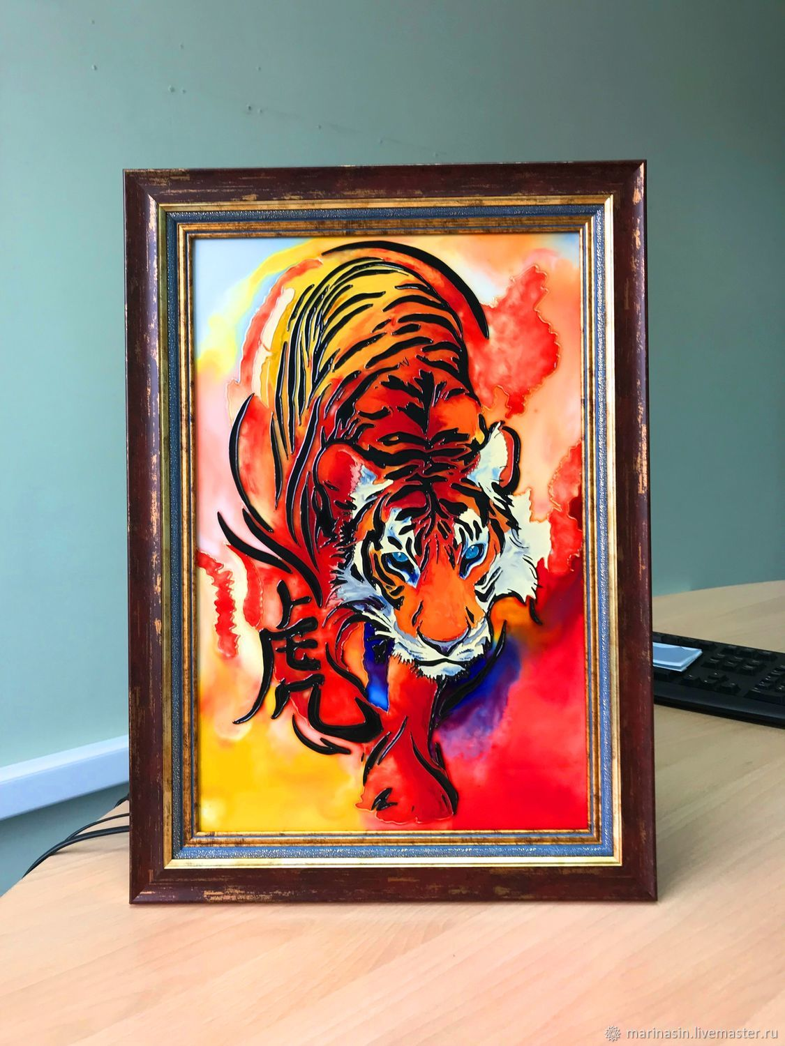 Stained glass painting on glass'Tiger', Pictures, Novosibirsk,  Фото №1