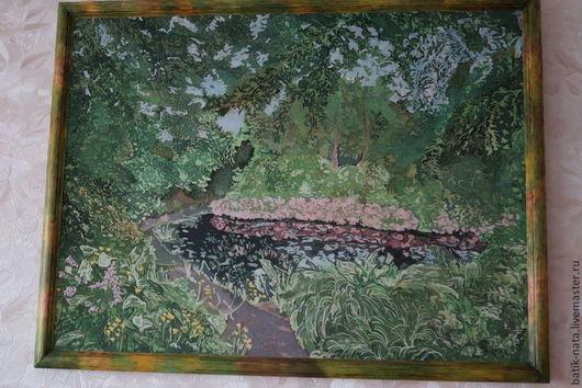 Пейзаж ручной работы. Ярмарка Мастеров - ручная работа. Купить Сады Шотландии. Handmade. Зеленый, батик-панно, пейзаж