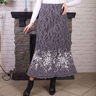 Одежда ручной работы. Ярмарка Мастеров - ручная работа Теплая серая юбка из шерсти. Handmade.