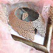 Аксессуары handmade. Livemaster - original item Leather collar Cream lace. Handmade.