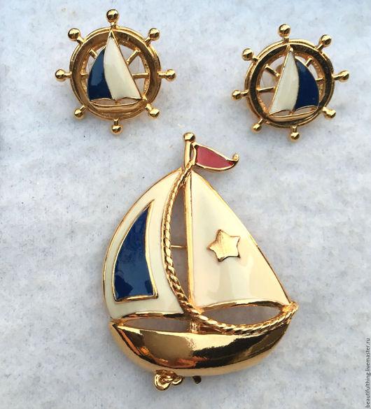 """Винтажные украшения. Ярмарка Мастеров - ручная работа. Купить Винтажный комплект от Avon """"Ship Ahoy"""". Handmade. Комбинированный, морской стиль"""