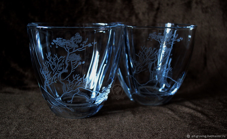 Бокалы, стаканы ручной работы. Ярмарка Мастеров - ручная работа. Купить Дерево в скалах. Стаканы для виски. Handmade. Япония, горы