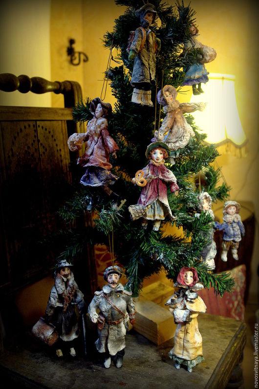 """Коллекционные куклы ручной работы. Ярмарка Мастеров - ручная работа. Купить Коллекция елочных игрушек из ваты """"Старинное Рождество"""". Handmade."""