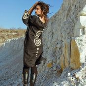 """Одежда ручной работы. Ярмарка Мастеров - ручная работа Этно-платье лен платье льняное миди до колена платье мини """"Black"""". Handmade."""
