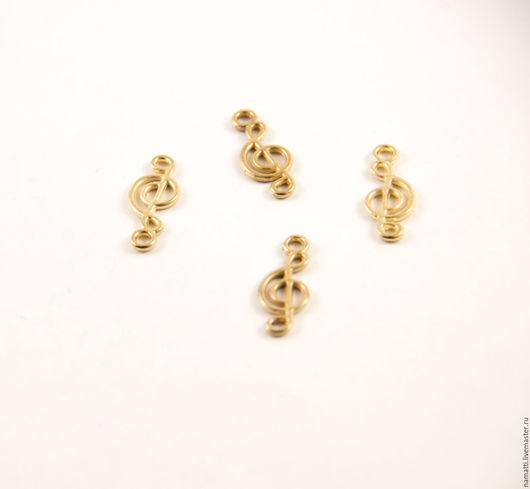 """Для украшений ручной работы. Ярмарка Мастеров - ручная работа. Купить Подвеска металлическая """"Скрипичный ключ"""", 20х8 мм. Handmade."""