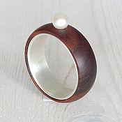 Украшения handmade. Livemaster - original item Wooden ring with pearl.. Handmade.