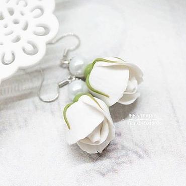 Украшения ручной работы. Ярмарка Мастеров - ручная работа Серьги Белые розы. Handmade.